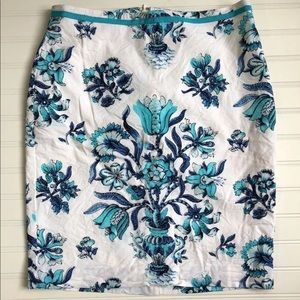 Talbots Floral Pencil Skirt Womens Size 8P Blue